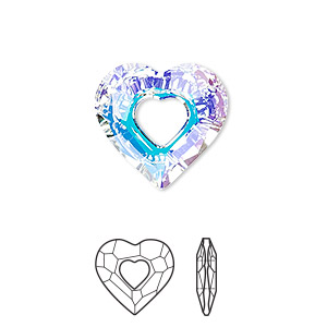 drop, swarovski crystals, crystal passions, crystal ab, 18x17mm faceted miss u heart pendant (6262). sold individually.