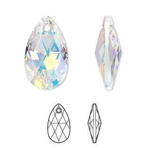 drop, swarovski crystals, crystal passions, crystal ab, 22x13mm faceted pear pendant (6106). sold individually.