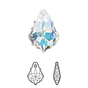 drop, swarovski crystals, crystal passions, crystal ab, 22x15mm faceted baroque pendant (6090). sold individually.
