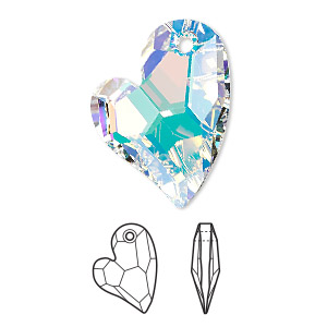drop, swarovski crystals, crystal passions, crystal ab, 27x20mm faceted devoted 2 u heart pendant (6261). sold per pkg of 4.