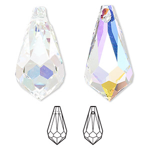 drop, swarovski crystals, crystal passions, crystal ab, 28x14mm faceted teardrop pendant (6000). sold individually.