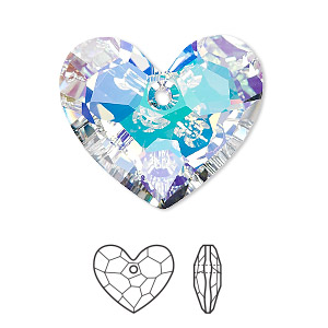 drop, swarovski crystals, crystal passions, crystal ab, 28x23mm faceted truly in love heart pendant (6264). sold individually.