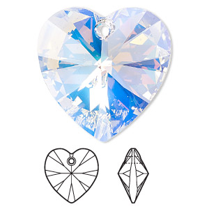 drop, swarovski crystals, crystal passions, crystal ab, 28x28mm xilion heart pendant (6228). sold individually.