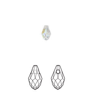 drop, swarovski crystals, crystal passions, crystal ab, 7x4mm faceted briolette pendant (6007). sold per pkg of 4.