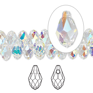 drop, swarovski crystals, crystal passions, crystal ab, 9x5mm faceted briolette pendant (6007). sold per pkg of 2.