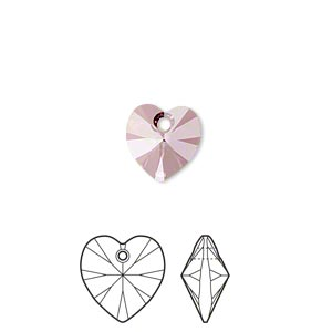 drop, swarovski crystals, crystal passions, crystal antique pink, 10x10mm xilion heart pendant (6228). sold per pkg of 2.