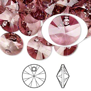 drop, swarovski crystals, crystal passions, crystal antique pink, 12mm xilion rivoli pendant (6428). sold per pkg of 12.