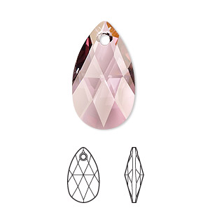 drop, swarovski crystals, crystal passions, crystal antique pink, 22x13mm faceted pear pendant (6106). sold individually.
