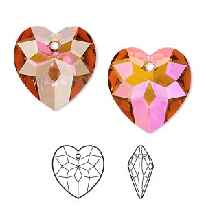 drop, swarovski crystals, crystal passions, crystal astral pink, 18x17mm faceted heart pendant (6215). sold per pkg of 24.