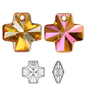 drop, swarovski crystals, crystal passions, crystal astral pink, 20x20mm faceted cross pendant (6866). sold per pkg of 24.