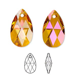 drop, swarovski crystals, crystal passions, crystal astral pink, 22x13mm faceted pear pendant (6106). sold individually.