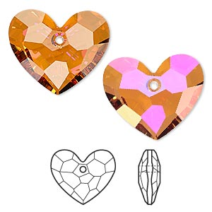 drop, swarovski crystals, crystal passions, crystal astral pink, 28x23mm faceted truly in love heart pendant (6264). sold per pkg of 4.