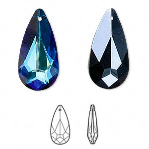 drop, swarovski crystals, crystal passions, crystal bermuda blue, 24x12mm faceted teardrop pendant (6100). sold individually.