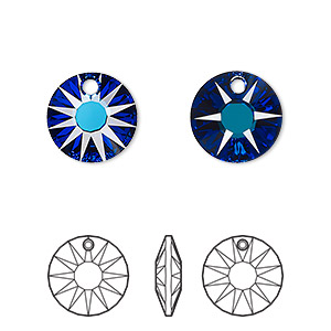 drop, swarovski crystals, crystal passions, crystal bermuda blue p, 12mm faceted sun pendant (6724). sold per pkg of 2.
