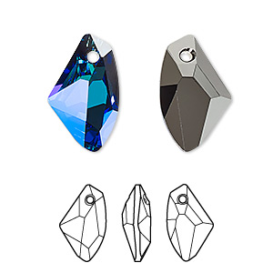 drop, swarovski crystals, crystal passions, crystal bermuda blue p, 19x11mm faceted galactic vertical pendant (6656). sold individually.