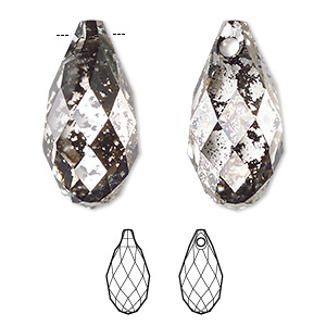 drop, swarovski crystals, crystal passions, crystal black patina, 13x6.5mm faceted briolette pendant (6010). sold per pkg of 24.
