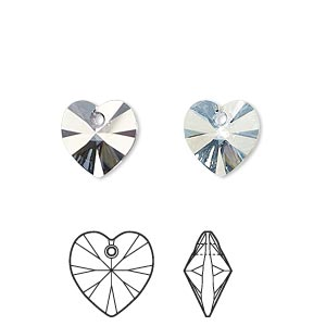 drop, swarovski crystals, crystal passions, crystal blue shade, 10x10mm xilion heart pendant (6228). sold per pkg of 2.
