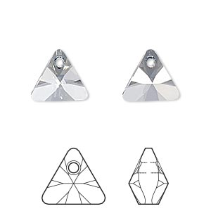 drop, swarovski crystals, crystal passions, crystal blue shade, 12mm xilion triangle pendant (6628). sold per pkg of 12.