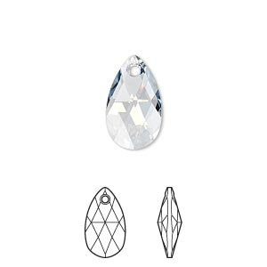 drop, swarovski crystals, crystal passions, crystal blue shade, 16x9mm faceted pear pendant (6106). sold per pkg of 24.