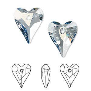 drop, swarovski crystals, crystal passions, crystal blue shade, 17x14mm faceted wild heart pendant (6240). sold per pkg of 12.