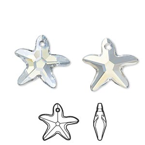 drop, swarovski crystals, crystal passions, crystal blue shade, 17x16mm faceted starfish pendant (6721). sold individually.