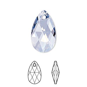 drop, swarovski crystals, crystal passions, crystal blue shade, 22x13mm faceted pear pendant (6106). sold per pkg of 24.