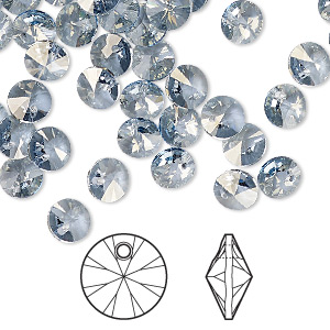 drop, swarovski crystals, crystal passions, crystal blue shade, 6mm xilion rivoli pendant (6428). sold per pkg of 12.