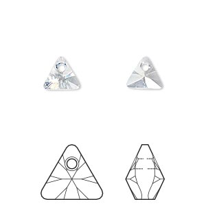 drop, swarovski crystals, crystal passions, crystal blue shade, 8mm xilion triangle pendant (6628). sold per pkg of 6.