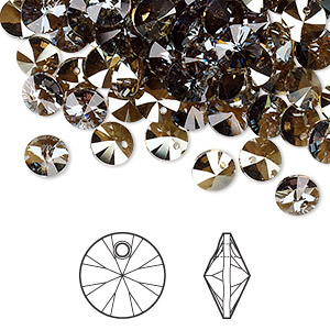 drop, swarovski crystals, crystal passions, crystal bronze shade, 6mm xilion rivoli pendant (6428). sold per pkg of 720 (5 gross).