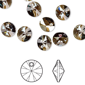 drop, swarovski crystals, crystal passions, crystal bronze shade, 8mm xilion rivoli pendant (6428). sold per pkg of 12.