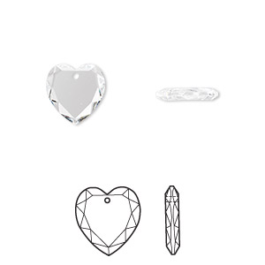 drop, swarovski crystals, crystal passions, crystal clear, 10x10mm faceted heart pendant (6225). sold individually.