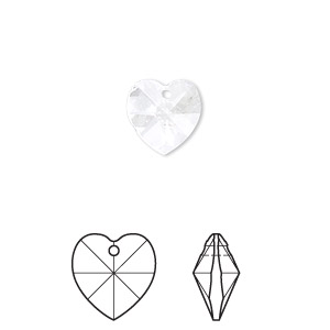 drop, swarovski crystals, crystal passions, crystal clear, 10x10mm xilion heart pendant (6228). sold per pkg of 2.