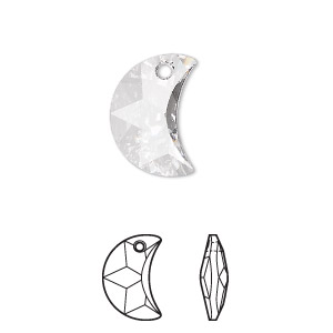 drop, swarovski crystals, crystal passions, crystal clear, 16x10mm faceted moon pendant (6722). sold individually.