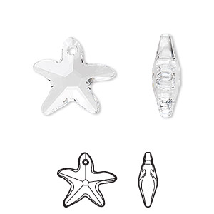 drop, swarovski crystals, crystal passions, crystal clear, 17x16mm faceted starfish pendant (6721). sold individually.