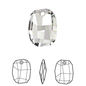 drop, swarovski crystals, crystal passions, crystal clear, 19x14mm faceted graphic pendant (6685). sold per pkg of 6.