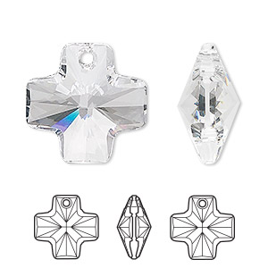 drop, swarovski crystals, crystal passions, crystal clear, 20x20mm faceted cross pendant (6866). sold per pkg of 24.