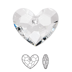 drop, swarovski crystals, crystal passions, crystal clear, 28x23mm faceted truly in love heart pendant (6264). sold individually.