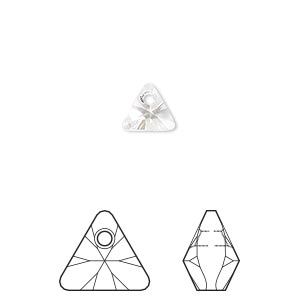 drop, swarovski crystals, crystal passions, crystal clear, 8mm xilion triangle pendant (6628). sold per pkg of 24.