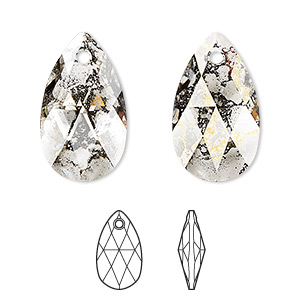 drop, swarovski crystals, crystal passions, crystal gold patina, 22x13mm faceted pear pendant (6106). sold per pkg of 24.