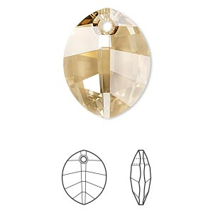 drop, swarovski crystals, crystal passions, crystal golden shadow, 23x18mm faceted pure leaf pendant (6734). sold per pkg of 6.