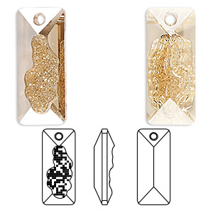 drop, swarovski crystals, crystal passions, crystal golden shadow, 26mm faceted grow rectangle pendant (6925). sold individually.