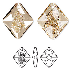 drop, swarovski crystals, crystal passions, crystal golden shadow, 26mm faceted grow rhombus pendant (6926). sold individually.