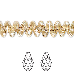 drop, swarovski crystals, crystal passions, crystal golden shadow, 7x4mm faceted briolette pendant (6007). sold per pkg of 4.