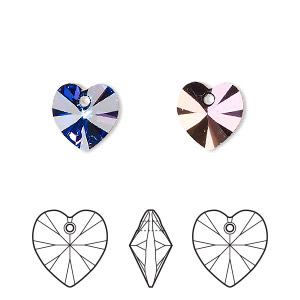 drop, swarovski crystals, crystal passions, crystal heliotrope, 10x10mm xilion heart pendant (6228). sold per pkg of 24.