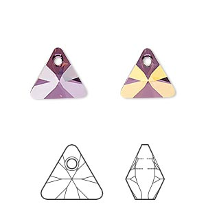 drop, swarovski crystals, crystal passions, crystal lilac shadow, 12mm xilion triangle pendant (6628). sold per pkg of 2.
