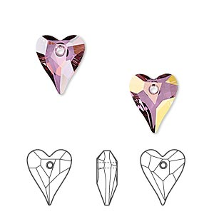 drop, swarovski crystals, crystal passions, crystal lilac shadow, 12x10mm faceted wild heart pendant (6240). sold per pkg of 18.