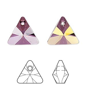 drop, swarovski crystals, crystal passions, crystal lilac shadow, 16mm xilion triangle pendant (6628). sold individually.