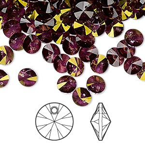drop, swarovski crystals, crystal passions, crystal lilac shadow, 6mm xilion rivoli pendant (6428). sold per pkg of 12.