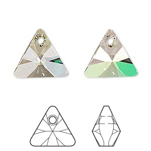 drop, swarovski crystals, crystal passions, crystal luminous green, 16mm xilion triangle pendant (6628). sold individually.