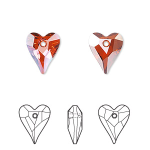 drop, swarovski crystals, crystal passions, crystal red magma, 12x10mm faceted wild heart pendant (6240). sold per pkg of 2.